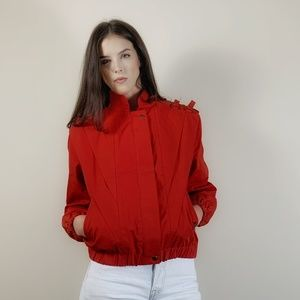 Vintage 80s bomber jacket with buckles